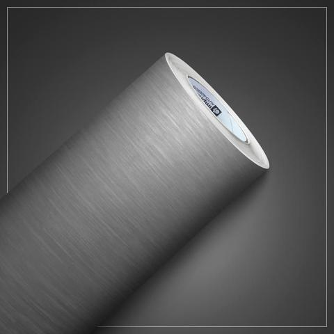 Imagem de Adesivo Envelopamento Vinil Prata Tipo Inox Aço Escovado 5m