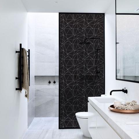 Imagem de Adesivo Para Vidro Box Banheiro Jateado Decorado Dark Prova D'Agua