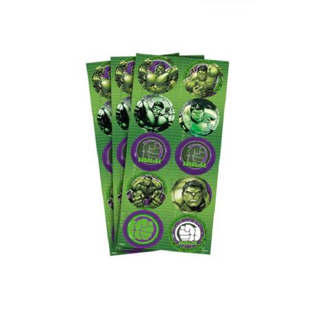 Imagem de Adesivo Redondo Hulk - 30 unidades