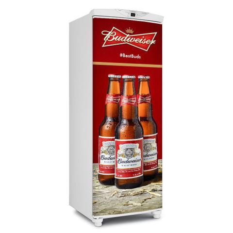Imagem de Adesivos De Geladeira Cerveja Budweiser 3 Garrafas - Envelopamento Porta - 180x65cm