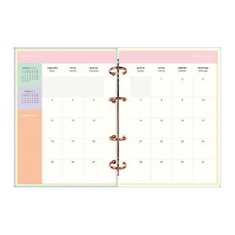 Imagem de Agenda Argolada 17,7cmx24cm Tilibra Planner Happy Verde 2021