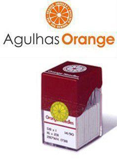 Imagem de Agulha DPx5 ORANGE para Máquina de Costura Reta Cabo Grosso, Caseadeira, Zig Zag, Pespontadeira, Travete - Ponta Bola -10 agulhas