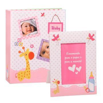 Imagem de Álbum baby Rosa p/ 200 Fotos (10 x 15) + Porta Retrato Yes