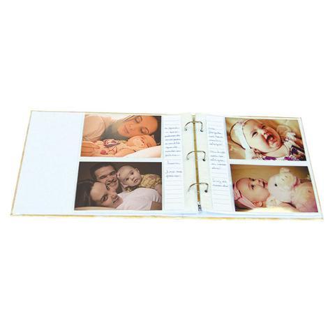 Imagem de Álbum Bebê Tecido Rosa e Lilás Ursinho Menina 200 Fotos 10X15