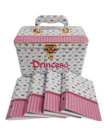 Imagem de Álbum De Fotos Princesa Letreiro Bordado 15x21 Com Maleta 160 Fts