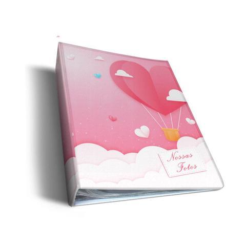 Imagem de Álbum de Fotos Rosa Balões de Coração Para 500 Fotos 10x15