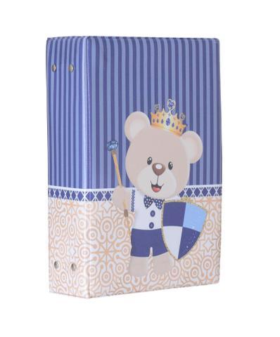 Imagem de Álbum Fotográfico Urso Escudo Para 500 Fotos 10x15 Coroa Infantil Bebê Príncipe Ursinho