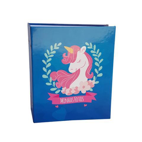 Imagem de Álbum infantil rebites 300 fotos 10x15 ical unicornio azul