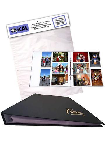 Imagem de Álbum Mega 500 Fotos 10x15 Preto Ferragem + Refil 100 Fotos