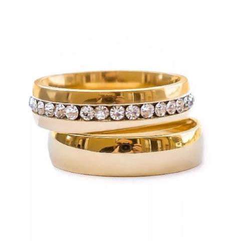 Imagem de Aliança 6mm Banhado Ouro 18k Casamento Noivado Namoro