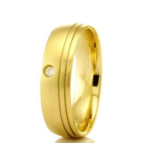 Imagem de Aliança de casamento feminina em Ouro 18k 750 WM Joias 5MM Com Zircônia F2303