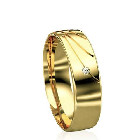 Imagem de Aliança de casamento feminina em Ouro 18k 750 WM Joias 5MM Com Zircônia F2921