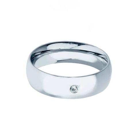 Imagem de Aliança prata pura lisa 6mm com pedra