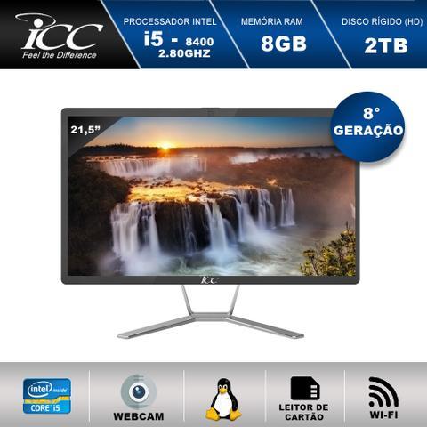 Imagem de All In One ICC AS8583SM21 Intel Core I5 2,80ghz 8 Geração 8GB HD 2TB WiFi Webcam Tela 21,5