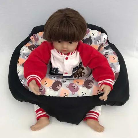 Imagem de Almofada Apoio Segura Bebê Sentar Puff Berço Portatil Céu Cinza