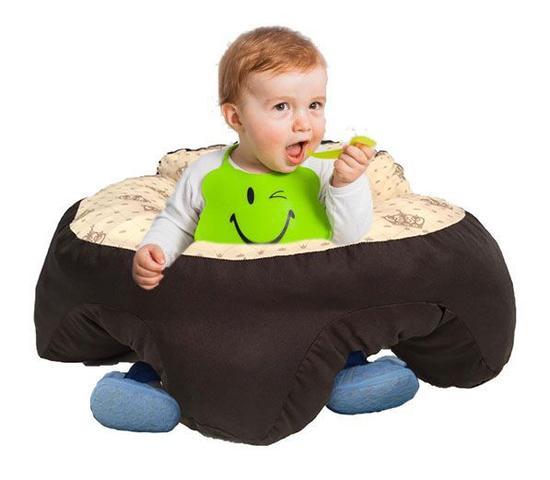 Imagem de Almofada Apoio Segura Bebê Sentar Puff Berço Portatil Coroa Bege