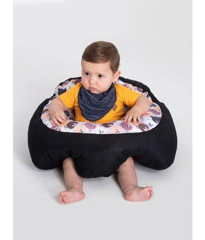 Imagem de Almofada Apoio Segura Bebê Sentar Puff Berço Portatil Ursinho Preto
