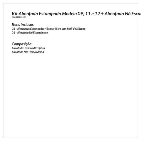 Imagem de Almofada Decorativa Cinza para Quarto 3 Unidades 45cm x 45cm com Refil de Silicone + Almofada Nó Escandinavo