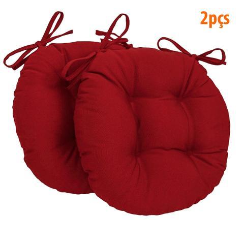 Imagem de Almofada Para Assento Redondo Ø40cm - Vermelho 2 Peças