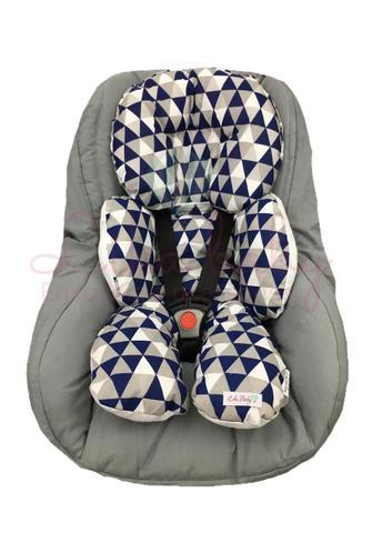 Imagem de Almofada Para Bebe Conforto Suporte Carrinho Redutor Chevron Azul