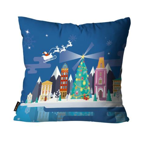 Imagem de Almofada Premium Cetim Mdecore Natal Papai Noel Azul