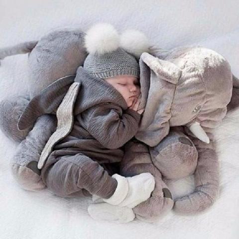 Imagem de Almofada Travesseiro Elefante Pelúcia Bebê Dormir Grande 62cm