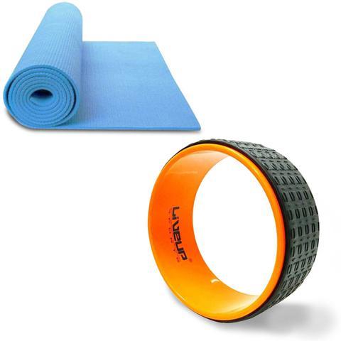 Imagem de Anel de Yoga e Pilates LIVEUP LS3750 Exercícios Magic Circle + Colchonete de Yoga Azul LS3231B