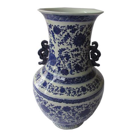 Imagem de Ânfora Decorativa em Porcelana Chinesa Azul