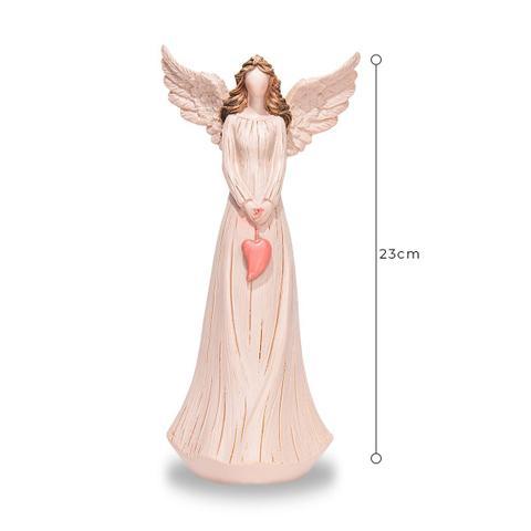 Imagem de Anjo De Resina Decorativo Cor Rosa Com Coração 23cm