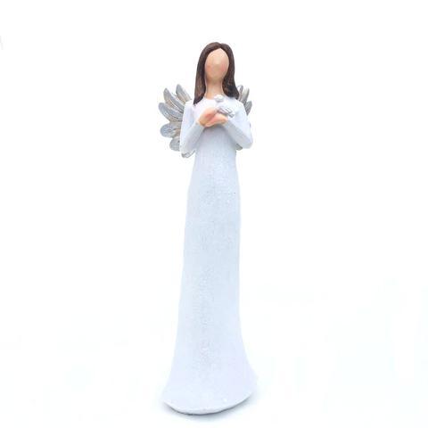 Imagem de Anjo Decorativo de Resina Branco Grande 25cm