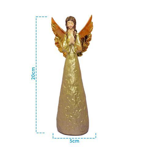 Imagem de Anjo Dourado De Resina Rezando Decorativo 20cm