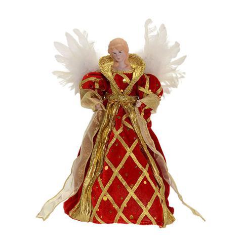 Imagem de Anjo Natal Vermelho Querubim Espressione Christmas 28cm