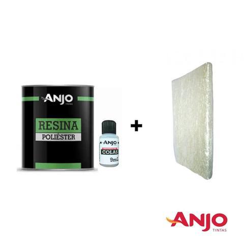 Imagem de Anjo Resina Adesivo de Laminação 990g c/ Catalisador (Kit c/ ou S/ Manta de Fibra)