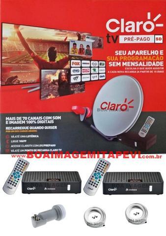 Imagem de Antena Claro Tv Pré-Pago Mercantil SD 2 Receptores Digital + Antena 60 cm