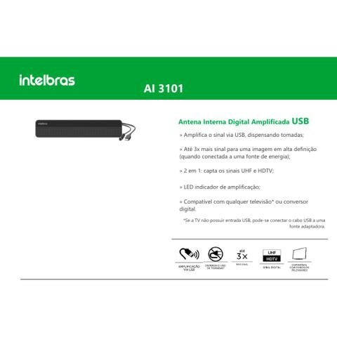 Imagem de Antena Interna de TV  Digital amplificada AI 3101 Intelbras HDTV