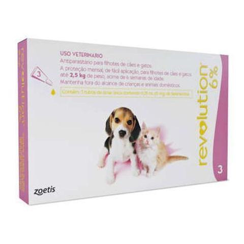 Imagem de Anti Pulgas e Carrapatos Zoetis Revolution 6 para Cães e Gatos até 2,5kg - 3 Ampolas de 0,25 mL