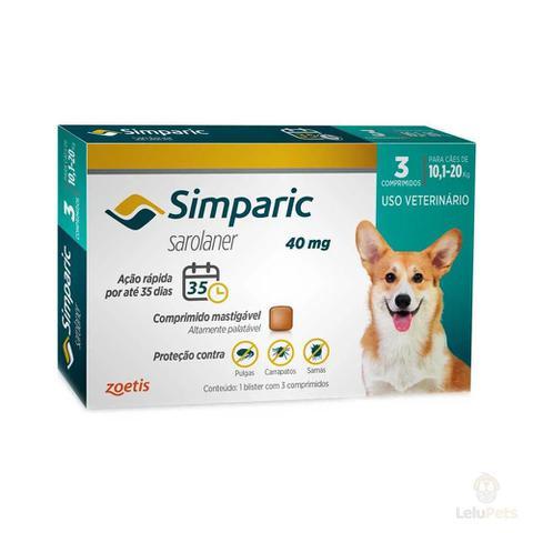 Imagem de Antipulgas Zoetis Simparic 40mg para Cães 10,1 a 20 Kg - 3 Comprimidos