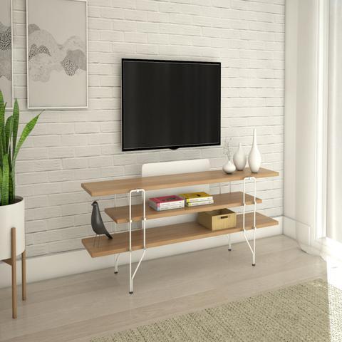 Imagem de Aparador Rack Para TV até 65 Polegadas 14 Bis Tecnoflex Carvalho Hanover c/ Branco