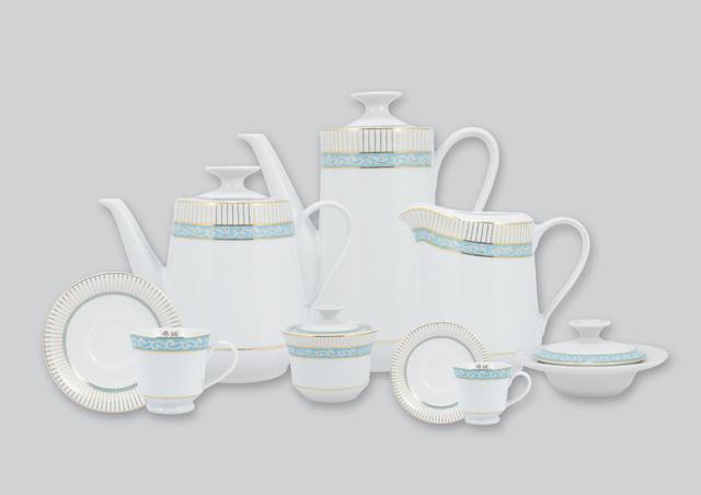 Imagem de Aparelho de Chá e Café Porcelana Schmidt 53 peças - Dec. Audrey