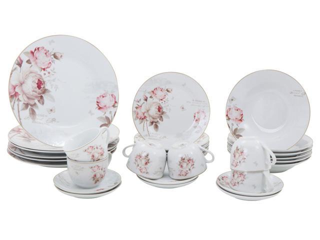 Aparelho De Jantar 30 Peças Casambiente Porcelana Redondo Branco E