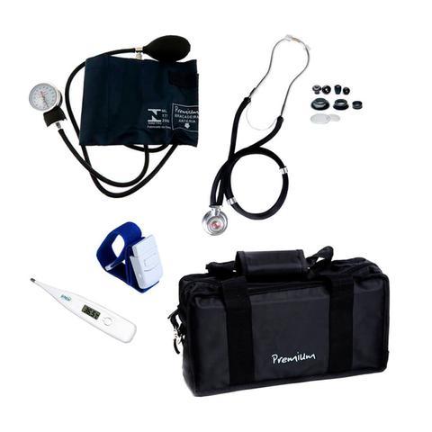 Imagem de Aparelho de pressão com estetoscópio rappaport, termômetro e bolsa - kit acadêmico Premium para Enfermagem