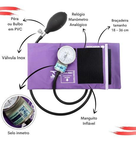 Imagem de Aparelho De Pressão Manual Esfigmomanômetro + Estetoscópio Duplo PAMED Garantia De 2 Anos