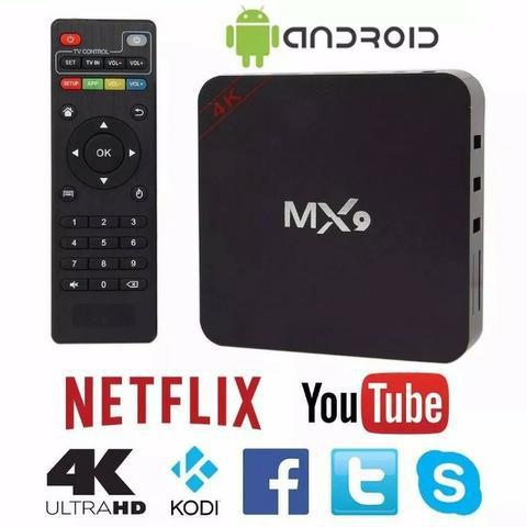 Imagem de aparelho para transformar tv smart mx9 4k android 7.1 netflix youtube