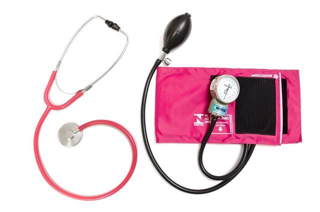 Imagem de Aparelho Pressão Adulto Nylon Fecho de Contato Rosa + Estetoscópio Adulto Unisson P.A. MED
