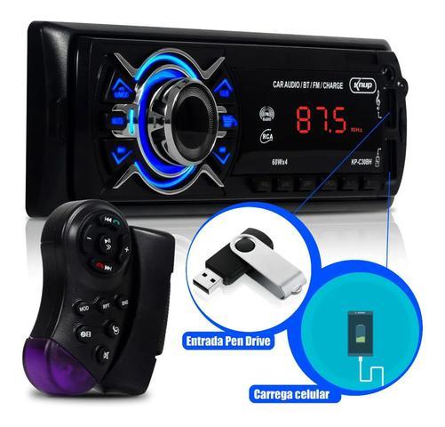 Imagem de Aparelho Som Automotivo Com Bluetooth Knup Mp3 Player Rádio Carro