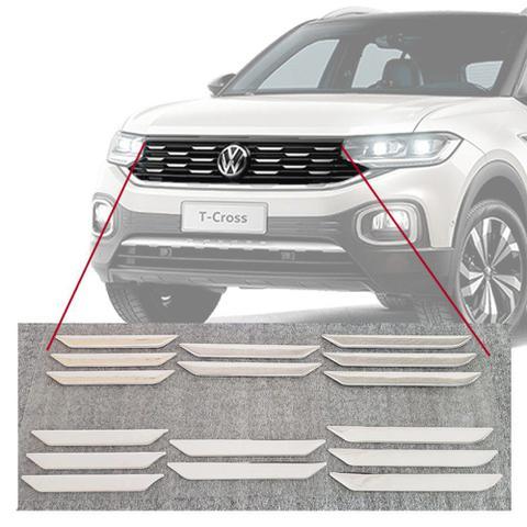 Imagem de Aplique Adesivo Cromado Grade Dianteira Frontal Volkswagen Tcross T-Cross PCD 2019 Em Diante Encaixe Perfeito