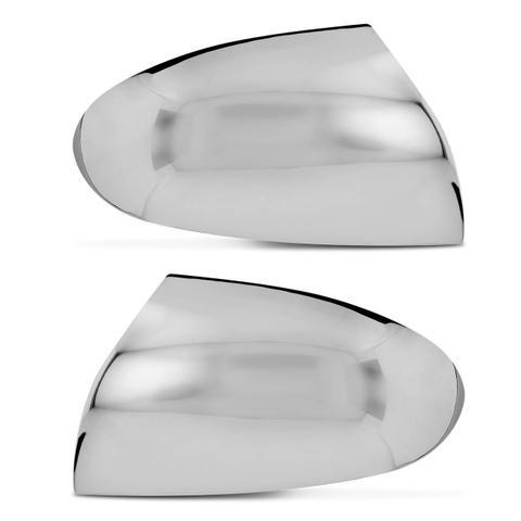 Imagem de Aplique Cromado Retrovisor Ford Fiesta 2002 a 2013 Fácil Instalação Encaixe Sob Medida Dupla Face
