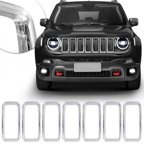 Imagem de Aplique da Grade Frontal Jeep Renegade 2019 2020 Encaixe Sob Medida Cromado 7 Peças