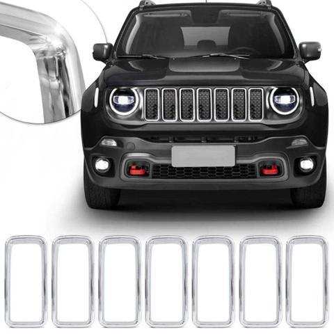 Imagem de Aplique da Grade Frontal Jeep Renegade 2019 2020 Encaixe Sob Medida Cromado 7 Peças - Prime