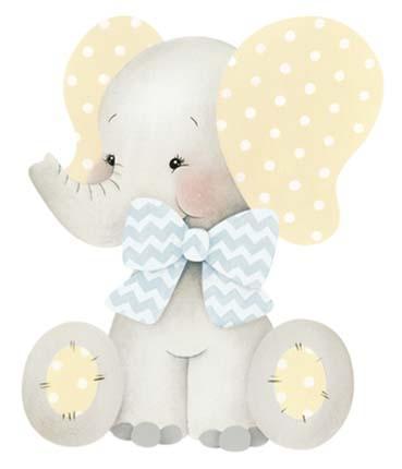 Imagem de Aplique Decoupage Elefantinhos Bebê APM3-262 em Papel e MDF 3cm Litoarte